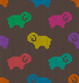 Seamless knitted pattern with sheep vector image