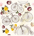 seamless pattern vintage bicycle and flowers vector image vector image