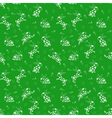 Seamless pattern with white rabbits over green vector image vector image