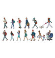 set collection pedestrians people walk women vector image vector image