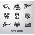 Set of Spy handdrawn icons - fingerprint spy gun vector image vector image