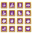 shop navigation foods icons set purple square vector image vector image