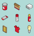 silkskreen color outline isometric icons vector image vector image