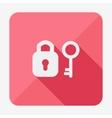 Single flat icon with long shadow Key and padlock vector image vector image