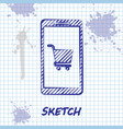 sketch line mobile phone and shopping cart icon vector image vector image