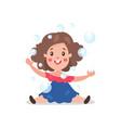 sweet cartoon brunette little girl having fun vector image vector image