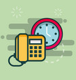 telephone and clock time business office vector image vector image