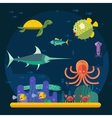 Underwater background coral garden with glossy vector image vector image