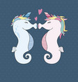 unicorn seahorses kissing with heart vector image