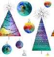 Watercolor balls and christmas tree vector image
