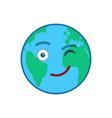 winking world globe isolated emoticon vector image vector image
