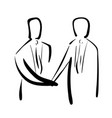 cartoon hand drawing of people shaking hand vector image