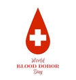 Drop of Red Blood with White Cross vector image