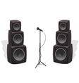 Stage with audio speakers and microphone vector image