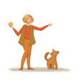 a young woman throws a ball to his dog vector image