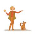 a young woman throws a ball to his dog vector image vector image