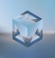 Abstract isometric cube with the reflection of the vector image