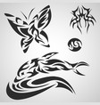 animals and insects pattern tribal set tattoo vector image