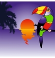 Background with brightly colored parrot vector image