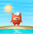bear on the beach cartoon vector image