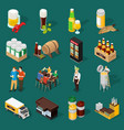 Beer isometric icons set