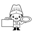 black and white cartoon cook mascot is holding a vector image