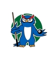 Blue owl with pool cue and ball vector image