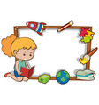 border template with girl reading book vector image vector image