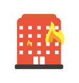 building burning with fire flames flat style icon vector image