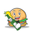burger character fast food with beer vector image