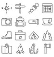 Camping icon set outline style vector image