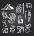 cartoon aztec and maya mask elements set on vector image vector image
