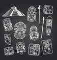 cartoon aztec and maya mask elements set vector image