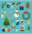 collection christmas items elements and vector image vector image