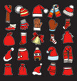 collection of red caps vector image vector image