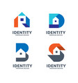 creative initial letter with house logo vector image