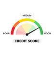 credit score assessment icon speedometer gauge vector image