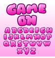 cute bubble pink font collection vector image vector image
