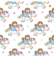 cute girl with pegasus seamless pattern vector image