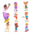 cute kids doing various kinds sports set boys vector image vector image