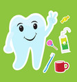 cute teeth cartoon sticker set on blue background vector image vector image