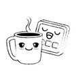 delicious coffee cup with slice bread kawaii vector image vector image