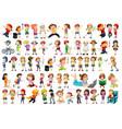 diverse children set on white background vector image vector image