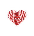 fingerprint scan set with love heart symbol vector image vector image