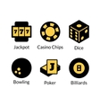 gambling icons set vector image