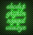 glowing green neon lowercase script font vector image vector image