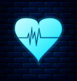 glowing neon heart rate icon isolated on brick vector image vector image