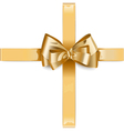 Golden Ribbon with Bow vector image vector image
