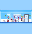 group of patients standing in line to doctors vector image vector image