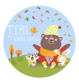 Happy animals meeting autumn vector image vector image
